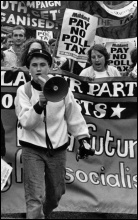 Militant supporters march against the poll tax, photo Steve Gardner