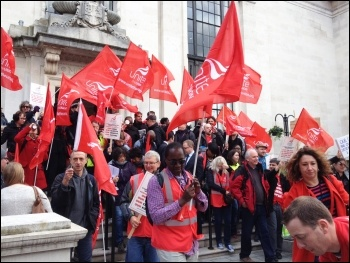 St Mungo's Broadway strikers leaving the steps of Islington town hall, 21.10.14, photo by Judy Beishon