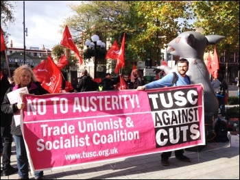 TUSC banner at Islington town hall protest, St Mungo's Broadway strike, 21.10.14, photo by Judy Beishon