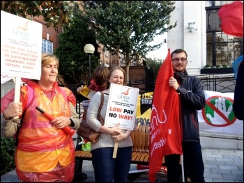 St Mungo's Broadway strikers at Islington TH protest, 21.10.14, photo by Judy Beishon