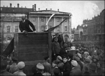 Lenin flankned by Trotsky addressing a demonstration in Moscow, May 1920. Under Stalin's counter-revolution, Trotsky was airbrushed out of the image