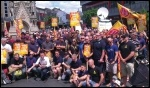 Firefighters protesting in Leicester over pension changes, photo Steve Score