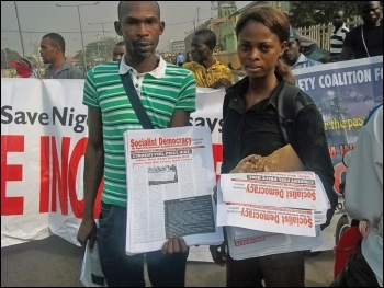 DSM (CWI Nigeria) activists with their newspaper Socialist Democracy