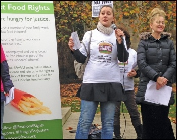 BFAWU executive member Sarah Woolley speaks at a Fast Food Rights lobby of parliament, 21.11.14, photo by Helen Pattison