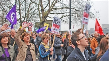 TUC demo 26 March 2011: A 24-hour general strike would be a serious step in a campaign to defeat the cuts, photo Suzanne Beishon