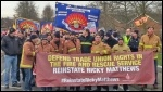 The front of the Ayslesbury FBU demo to reinstate Ricky Matthews, 09.12.14, photo Neil Cafferky