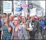 Marching against NHS cuts and privatisation, London 2014, photo Bob Severn