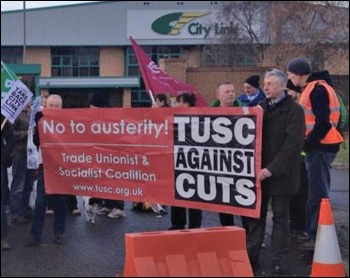 TUSC supporters at the City Link, photo by Coventry SP