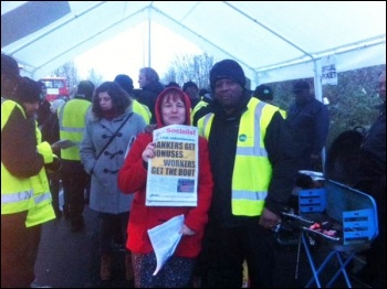 TUSC prospective parliamentary candidate Nancy Taaffe with strikers at Lea Interchange bus garage, 13.1.15