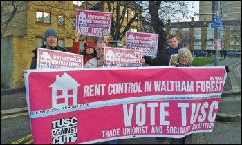 Waltham Forest TUSC supporters campaigning for rent control