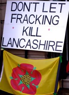 Banner outside the Lancashire County Council buildings in Preston on 28 January, where about 250 anti-fracking protesters assembled in protest at Cuadrilla's planning applications for two fracking sites between Preston and Blackpool. Photo Dave Beale