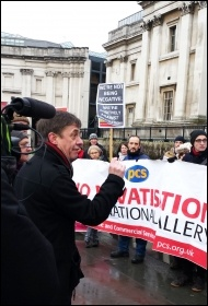 PCS assistant general secretary Chris Baugh at the National Gallery picket, 3.2.15, photo Rob Williams