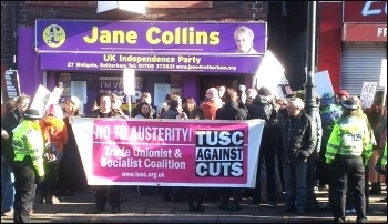 Protest outside Ukip shop in Rotherham, Feb 2015, photo by A Tice
