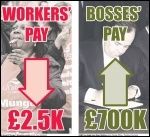 Workers' pay down £2.5k - Bosses' pay up £700k