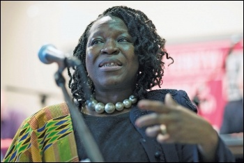 Nana Asante speaking at the 2014 TUSC conference, photo Paul Mattsson