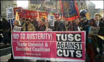 TUSC banner on the firefighters' march, 25.2.15, photo Sarah Wrack
