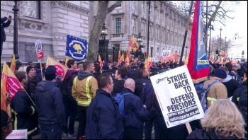 Firefighters demonstrate at Downing Street, 25.2.15, photo by Steve Score
