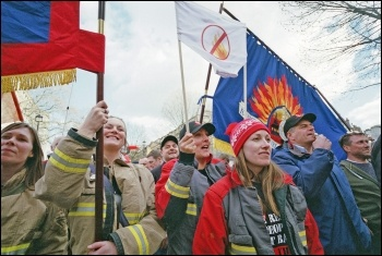 3,000 firefighters protested over pension cuts and the fire minister misleading parliament, 25.02.15, photo Paul Mattsson