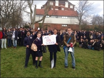 Lunchtime protest at Prendagast school, Hilly Fields, 4.3.15 photo by H Pattison