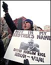 Not in my brother's name: demonstrator in New York, photo by Paul Mattsson