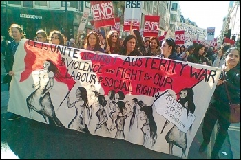 The Day-Mer contingent on the Million Women Rise march in London, 7.3.15, photo by E Donne
