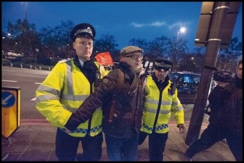 Blacklist Support Group secretary Dave Smith was arrested at Hilton protest