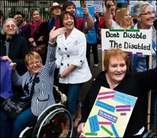 Disabled people and carers protesting, photo Paul Mattsson