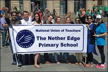NUT members in Sheffield during the 10 July 2014 public sector pay strike, photo by Karl Lang