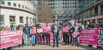 Dave Nellist and other candidates launch the TUSC manifesto at Canary Wharf in London, photo Paul Mattsson
