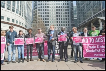 Dave Nellist with other TUSC candidates at the 2015 general election manifesto launch in London's Canary Wharf, photo Paul Mattsson