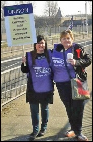 Striking Glasgow homelessness caseworkers Lesley and Mary, photo by SPS