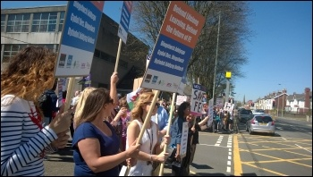 Protesting against  cuts in Wales FE, 22.4.15