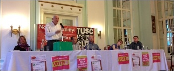 Liverpool pre-election rally, 29.4.15. From left to right: Marion Lloyd, Tony Mulhearn (speaking) Paul Murphy, Dave Walsh (chair), Kellie Butchard, Daren Ireland , photo Judy Beishon