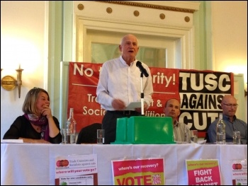 Tony Mulhearn addressing the Liverpool TUSC rally, 29.4.15, photo by Judy Beishon