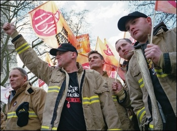 Firefighters marching in London against pension cuts , photo Paul Mattsson