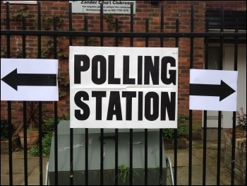 Polling station in Tower Hamlets, photo Judy Beishon