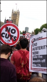 Trafalgar Sq, 27.5.15, protesting against the Tory government's austerity onslaught , photo Rob Williams