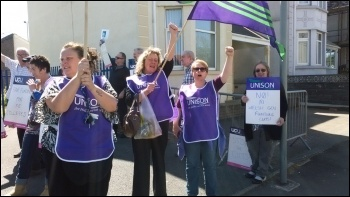 Unison members in Wales protesting against Further Education cuts