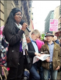 Isai from Tamil Solidarity speaking from the TUSC stage near Bank, 20.6.15, photo Paula Mitchell