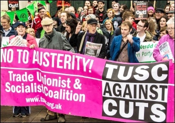 Anti-cuts demo in Swansea, 13.6.15, photo by Les Woodward