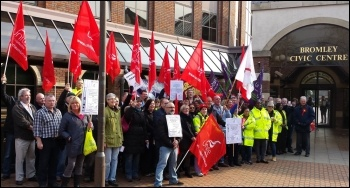 Bromley council workers on strike, photo Rob Williams