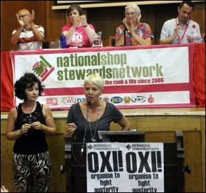 Glasgow striking homelessness caseworkers speaking at NSSN conference, London 4.7.15
