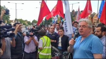 RMT national executive member and Socialist Party member John Reid addressing the demo, 21.7.15