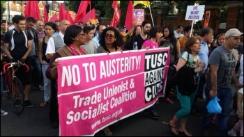 TUSC supporters marching, 21.7.15, photo Neil Cafferky