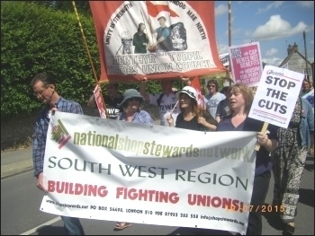 South West NSSN banner on the Tolpuddle march, July 2015