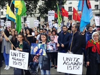 Solidarity protest in London following terrorist attack at Suruc in Turkey, July 2015, photo by Paula Mitchell