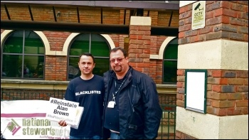 Victimised Bromley Unite rep Alan Brown with National Shop Stewards Network chair Rob Williams, photo by Socialist Party