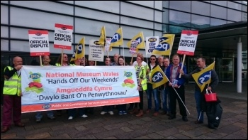 PCS members from Museums Wales and DVLA outside Waterfront museum, 29.8.15