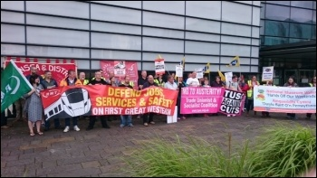 Swansea TC rally outside the Waterfront museum including strikers from DVLA, Museums Wales and FGW.