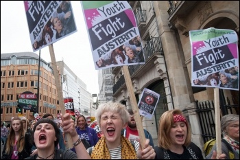 Young women on the national anti-austerity demo, June 2015, photo Socialist Party
